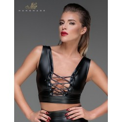 Top lacé wetlook F155 Noir Handmade