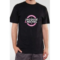 T-shirt Jacquie & Michel 9322 noir n°4 Inscription Rose