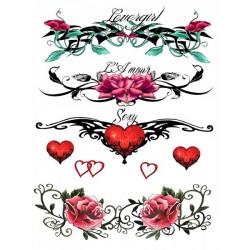 Tatouage éphémère Plaque de 4 Love Tattoo