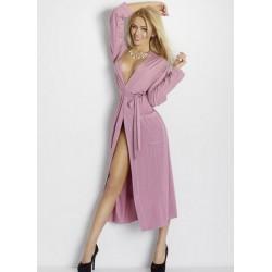 VIKI Robe de Chambre Longue Viscose rose poudre
