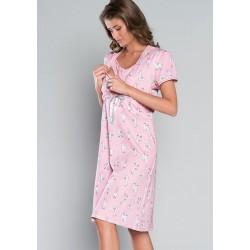 BOLIWIA Chemise de nuit rose de grossesse ou d'allaitement