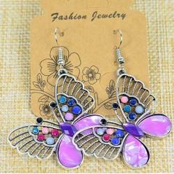 Boucles Oreilles Athena Papillon en Strass et perles