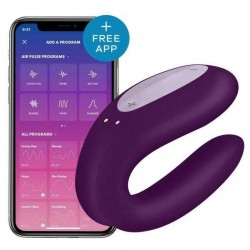 Stimulateur connecté pour couple Satisfyer Double Joy violet