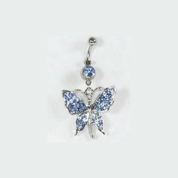 Piercing Papillon strass bleu