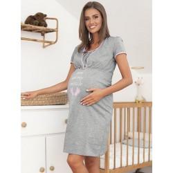 CARLINA Chemise de nuit de grossesse Gris-Rose